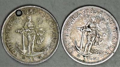 South Africa 1954 and 1955 Shilling Lot of 2 Silver Coins