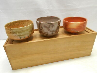 Japanese Tea Ceremony Pottery Bowl Set x 3 Chanoyu Traditional Vintage #168