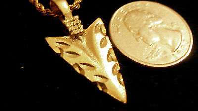 bling gold plated INDIAN tribal NATIVE arrowhead PENDANT charm necklace JEWELRY