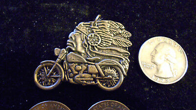 bling gold plated INDIAN chief on bike motorcycle pendant charm necklace JEWELRY