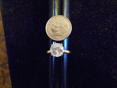 bling gold plated ICED OUT FASHION cubic solitaire ring hip hop JEWELRY GP sz3.5