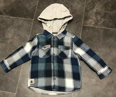 Next Boys Blue Check Hooded Shacket. Age 1 1/2 - 2 Years