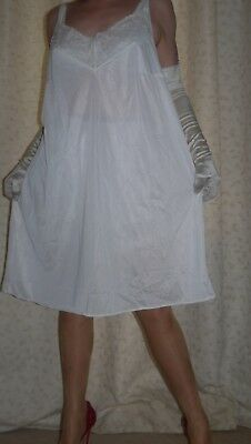 Bhs vintage silky nylon cream lace full slip~nightie gown lingerie size 22