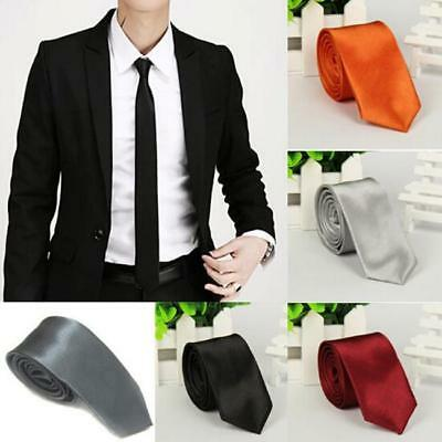 Men's Skinny Tie Plain Wedding Slim Necktie Formal Casual Narrow Party Ties HC