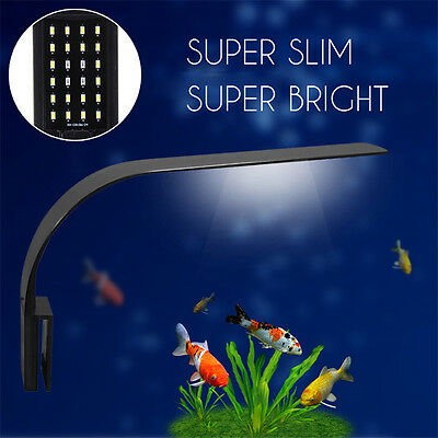 24 LED Aquarium Light Clip on Plant Grow Fish Tank Lighting Lamp White Blue 220V