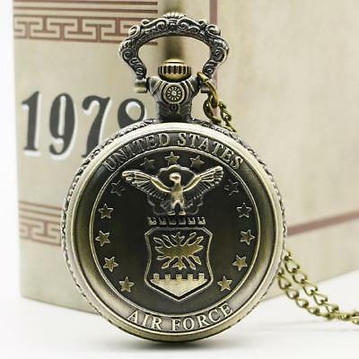 Steampunk Retro Antique Bronze Pocket Watch Quartz Necklace Pendant Chain Gifts