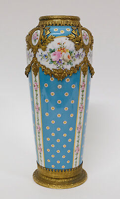 Fine 19th Century Antique French Porcelain Sèvres Gilt Bronze Mounted Vase