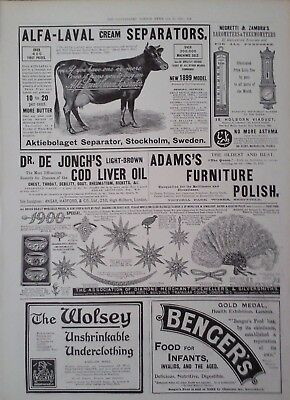 1900 Advert Alfa Laval Cream Separators - Asymington's Pea Flour - Ridgways Tea