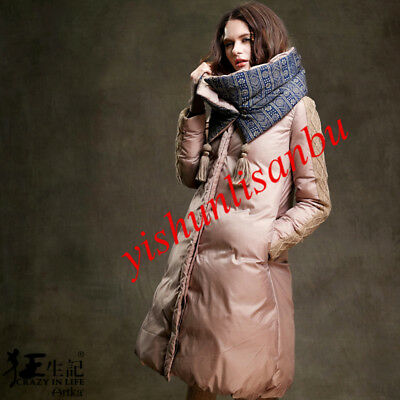 Winter Womens 90% Duck Down Coat Thick Detachable Windproof Collar Parka Jackets