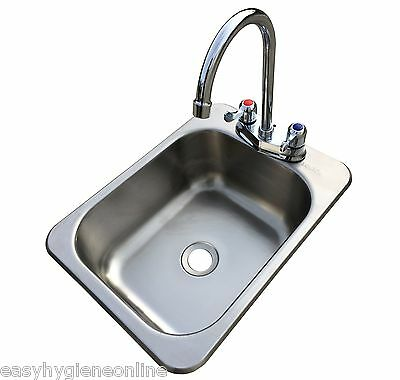 (B) Counter Top Sunk Inset Stainless Steel HAND WASH BASIN Sink Waste Plug Trap