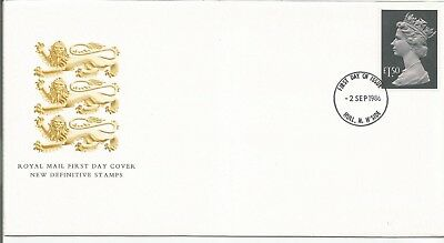 Gb Fdc 1986 New Definitive Issue-£1.50 Stamp