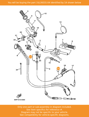 YAMAHA Cable, Starter 1, 1VJ-26331-04 Fowlers Parts OEM