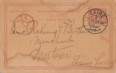 Egypt 1895 postal stationery card to Sierra Leone
