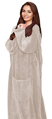 SILVER ONE Luxury Adult Wearable Velvet Plush Throw Blanket Robe with Sleeves &