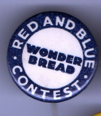 Vintage pin WONDER BREAD pinback BAKERY Red & Blue CONTEST button