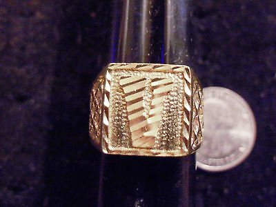 bling gold plated solitaire MEN`S LETTER V fashion ring hip hop JEWELRY sz9.5 GP