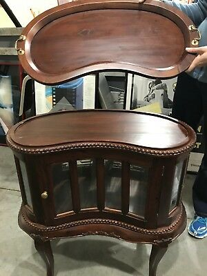 Antique French Country Tea Table Cabinet with Tray