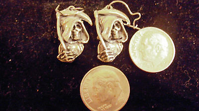 bling silver plated pagan gothic celtic grim reaper fashion dangle ear ring 2 PR