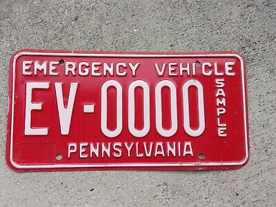 Pennsylvania Emergency Vehicle SAMPLE license plate   #  EV - 0000