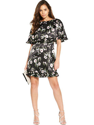 V By Very Frill Cape Dress In Print Size 8