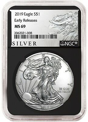 2019 1oz Silver American Eagle NGC MS69 - ER - ALS Label - Black Core