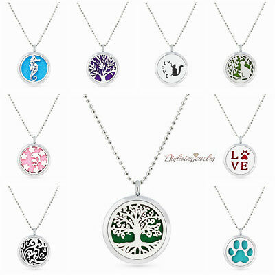New 30mm Aromatherapy Essential Oil Diffuser Perfume Locket pendant Necklace+pad