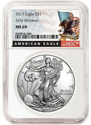 2019 1oz Silver American Eagle NGC MS69 - ER - Black Label - White Core