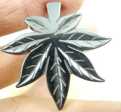 39*38mm Beautiful Carved Maple Leaf  Hematite pendant beads  A1