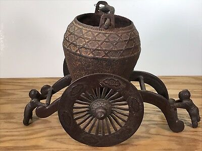 Antique Cast Iron Japanese Asian Carriage Lantern Pot Chariot