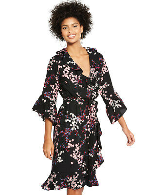 V by Very Printed Frill Wrap Midi Dress in Print Size 8