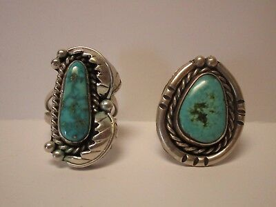 Vintage Native American Indian Sculpture Sterling Silver Ring Turquoise Chunky