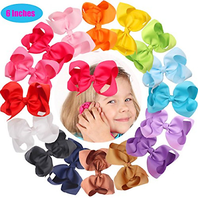 16 Pcs 6 Inch Hair Bows Clips Baby Girls Toddlers Alligator Hair Clips Solid