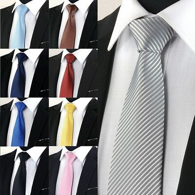 Men's Classic Necktie Jacquard Woven Tie Silk Narrow Wedding Skinny Slim Necktie