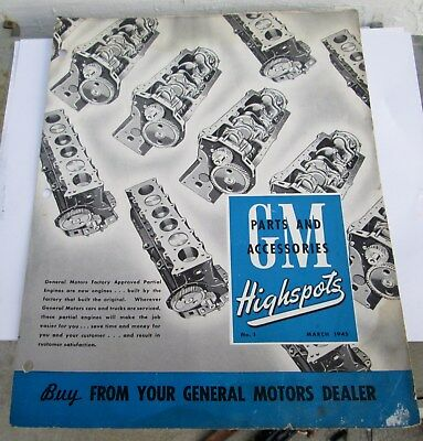Scarce March 1945 Gm Highspots General Motors Of Canada Parts Brochure  Original