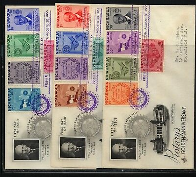 Nicaragua  Rotary   3  cachet first day  covers           MS1112