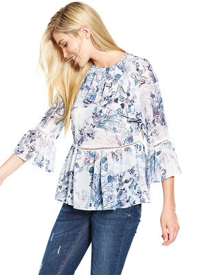 V by Very Blue Floral Frill Front Casual Blouse in Blue Floral Size 8