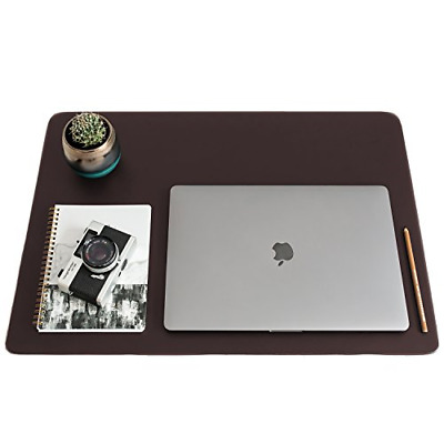 ZBRANDS // Brown Leather Smooth Desk Mat Pad Blotter Protector, Extended Laptop