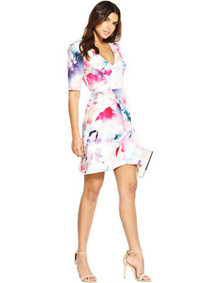 V by Very Printed Frill Wrap Hem Dress in Pink Print Size 8