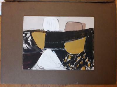Hilton Interest - Bold Gouache On Card Abstract With Ochre, Black & White
