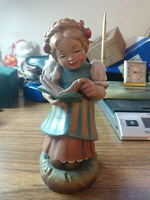 Vintage Romy Black Forest Wooden Lil' Girl Caroling Reading Hand Carved Figurine
