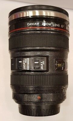 Caniam Camera Lens Thermos EF 24-105mm Mug Stainless Steel Coffee Cup Black Gift