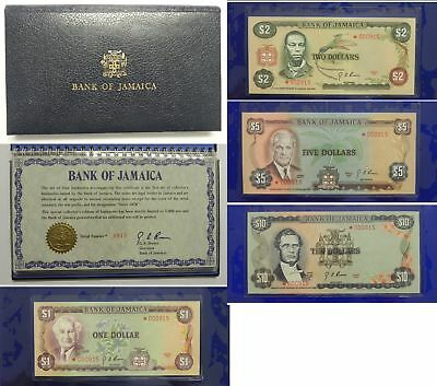 Bank of JAMAICA 1976 Four Matching LOW SERIAL STAR NOTES - $10 $5 $2 $1 Dollars