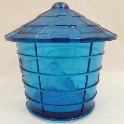Vintage IMPERIAL Teal ELECTRIC BLUE Glass BIRD CAGE Covered JAR Canister SUMMIT!