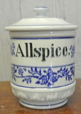 Antique Flow Blue Spice Jar Allspice Blue Onion Made in German