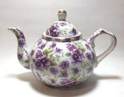 Baum Bros Formalities Pansy Chintz Collection Tea Pot
