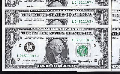 10 of 2006 US 1$ Replacement Bank Notes In Series (L04511141* - L04511150*)