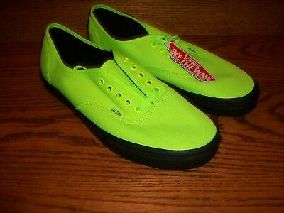 fd611ac879 VANS Authentic (Black Outsole) Neon Green Black SIZE 11 Men s Skate Shoes  NEW