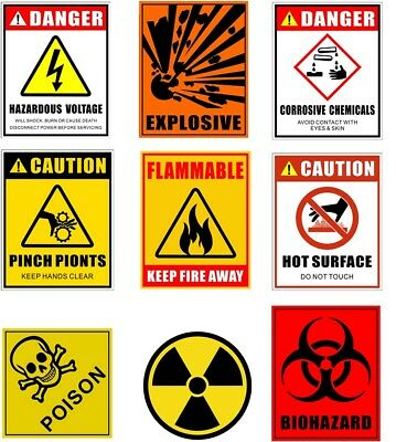 Flammable, Biohazard, Explosive, Radiation, Poison - Safety Warning Label & more