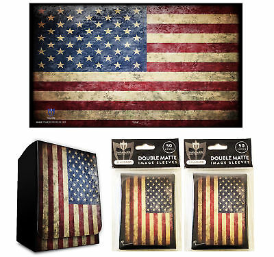 USA Old Glory 100ct Max Pro MTG Size Double Matte Sleeves Deck Box Playmat