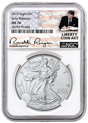 2019 1oz Silver Eagle NGC MS70 - ER - Liberty Coin Act - White Core